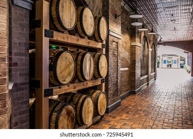 NASHVILLE ,TENNESSEE ,USA - MAY 11 ,2015 : Wooden bucket used for whiskey fermentation in Nashville ,Tennessee