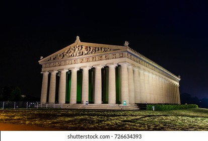 NASHVILLE ,TENNESSEE ,USA - MAY 11 ,2015 : Ancient architecture of The Parthenon at night in Nashville, Tennessee USA