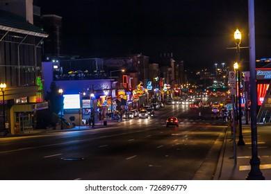 NASHVILLE ,TENNESSEE ,USA - MAY 11 ,2015 : Beautiful night view in downtown Nashville ,Tennessee USA