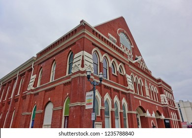 NASHVILLE, TN -27 OCT 2018- View of the Ryman Auditorium, a performance venue located at 116 5th Avenue North, in Nashville, Tennessee.