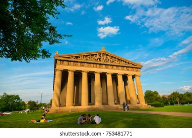 NASHVILLE, TN - AUGUST 20, 2017:  Built in 1897 for Tennessee's Centennial Exposition, this full-scale replica of the ancient Parthenon in Athens is the centerpiece of the city's Centennial Park.