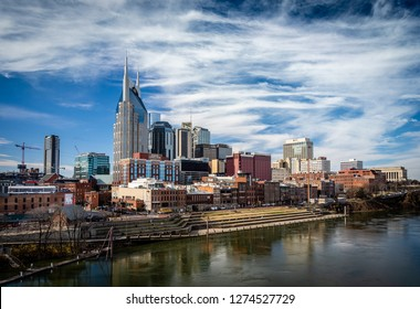 NASHVILLE, TN - DEC 13, 2018: Downtown Nashville on a cool winter day. Our vantage point is from East Nashville, just across the Cumberland River from downtown.