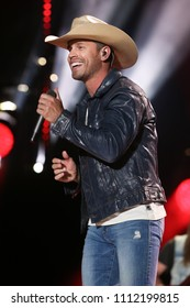NASHVILLE, TN - June 9: Singer Dustin Lynch performs at the 2018 CMA Fest at Nissan Stadium on June 9, 2018 in Nashville, Tennessee.