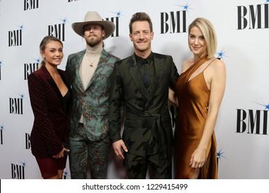 NASHVILLE, TN - NOV 13: (L-R) Brittney Kelley, Brian Kelley, Tyler Hubbard and Hayley Hubbard attend the BMI Country Awards 2018 at BMI Nashville on November 13, 2018 in Nashville, Tennessee.