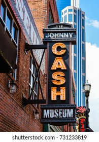 Nashville, TN - Sep. 19, 2017: Johnny Cash Museum. Johnny Cash (1932 – 2003) was an American singer-songwriter, guitarist, actor, and author.