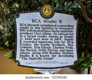 Nashville, TN - Sep. 19, 2017: Marker describes history of RCA Studio B, once the recording home of popular music titans such as Elvis Presley, Chet Atkins, Eddy Arnold, the Everly Brothers, etc.