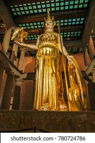 Nashville, TN USA - 06/17/2014 - Nashville, TN USA - Centennial Park The Parthenon Replica Giant Statue of Athena with Nike