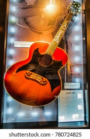 Nashville, TN USA - 06/17/2014 - Nashville, TN USA - Johnny Cash Museum Acoustic Guitar With Lyric Sheet