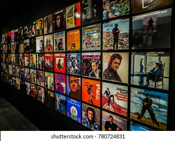 Nashville, TN USA - 06/17/2014 - Nashville, TN USA - Johnny Cash Museum Wall of Albums