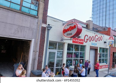 NASHVILLE, TN, USA - APRIL 14, 2017: Goo-Goo shop and factory. An iconic Nashville presence since 1912, home of the Goo-Goo Cluster, which combine caramel, marshmallow nougat, peanuts, and chocolate