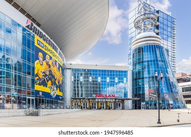 NASHVILLE, TN, USA - APRIL 28, 2021: The Bridgestone Arena is home to the Nashville Predators, located in the downtown Nashville. The Visitor Information Center is to help guests find things to do.
