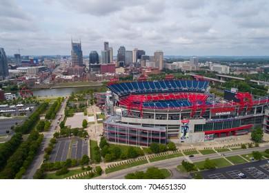 NASHVILLE, TN, USA - AUGUST 10, 2017: Aerial drone photo of the Nissan Football Stadium
