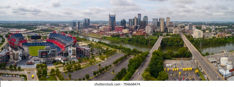 NASHVILLE, TN, USA - AUGUST 10, 2017: Aerial drone image of Downtown Nashville Tennessee