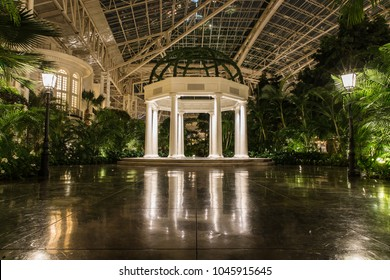 NASHVILLE, TN, USA - August 13, 2017: The Gaylord Opryland Hotel & Convention Center has an atrium with this gazebo and plenty of space for intimate parties, weddings, or other events.