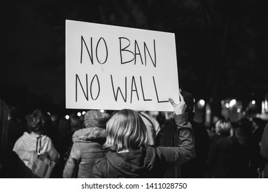 Nashville, TN / USA - February 1, 2017: Citizens protesting Donald Trump's immigration ban
