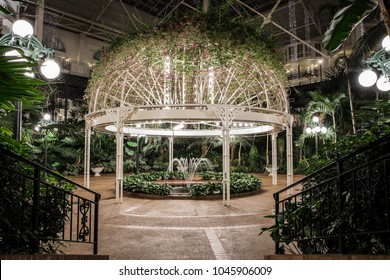 NASHVILLE, TN, USA - February 25, 2018: The Gaylord Opryland Hotel & Convention Center features three separate atrium's on its property. One of them features this beautiful gazebo over a fountain.