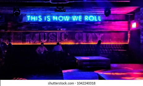 NASHVILLE, TN, USA - February 26, 2018: FGL House is a bar in Downtown Nashville that was opened by Country band, Florida Georgia Line in 2017 that features three floors showcasing country music.