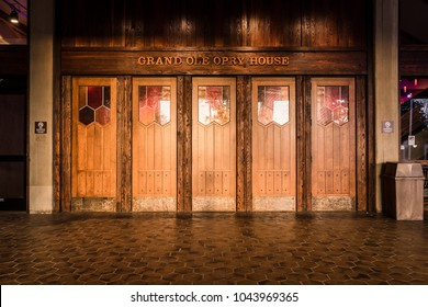 NASHVILLE, TN, USA - February 27, 2018: The exterior entrance to the Grand Ole Opry House with the classic wooden doors and stained glass leading to a legendary music venue.