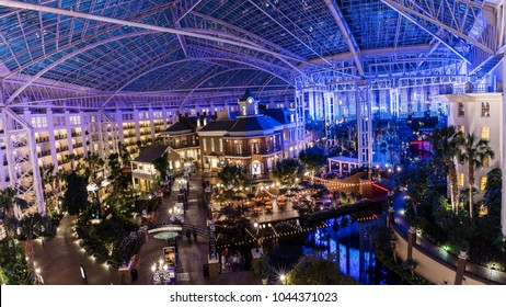 NASHVILLE, TN, USA - February 27, 2018: A landscape shot looking out over the Delta Island Atrium in the Gaylord Opryland Resort & Convention Center by Marriott.