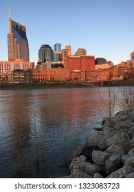 Nashville, TN, USA March 14, 2018 The skyline of Nashville Tennessee is reflected in the waters of the Cumberland River