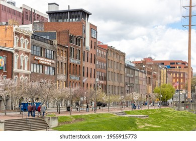 NASHVILLE, TN. USA - MARCH 28, 2021: The Historic Front street warehouses on 1st Avenue is on the National Register of Historic Places. These have been preserved as bars, restaurants, and lofts.