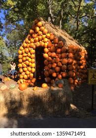 Nashville, TN / USA - October 22 2016: Pumpkin House at Cheekwood Botanical Gardens for Fall Festival