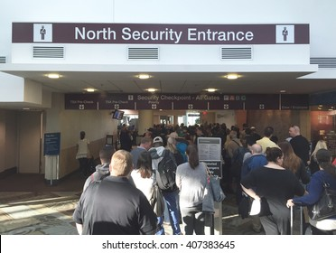 NASHVILLE, TN-APRIL 18, 2016:  People wait in the security line at Nashville International airport. The number of TSA agents is not sufficient for the passengers waiting for their security clearance.