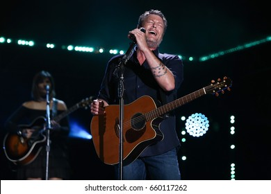 NASHVILLE, TN-JUN 9: Country singer Blake Shelton performs in concert during the 2017 CMA Music Festival on June 9, 2017 at Nissan Stadium in Nashville, Tennessee.