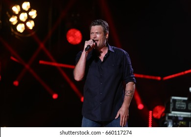 NASHVILLE, TN-JUN 9: Country singer Blake Shelton performs in concert during the 2017 CMA Music Festival on June 9, 2017 at Nissan Stadium in Nashville, Tennessee.