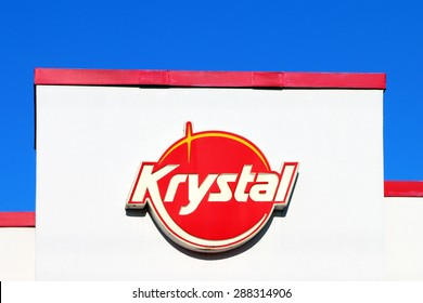 NASHVILLE, TN-JUNE, 2015:  Sign for a Krystal restaurant.  Krystal, started in Chattanooga, Tennessee in 1932, and now has over 350 locations in the southern part of the United States.