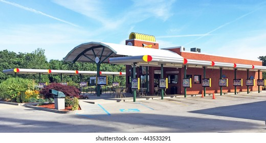NASHVILLE, TN-JUNE 24, 2016:  Exterior of a Sonic Drive In restaurant.  Sonic is an American chain of restaurants featuring car hops.