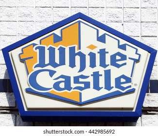 NASHVILLE, TN-JUNE 24, 2016:  Sign for a White Castle restaurant.  White Castle was the first hamburger fast food restaurant in the USA.