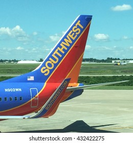 NASHVILLE, TN-JUNE 5, 2016:  Tail section of a Southwest Airlines Boeing 737.
