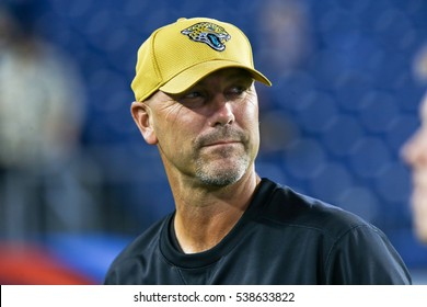 NASHVILLE, TN-OCT 27: Jacksonville Jaguars head coach Gus Bradley before the game against the Tennessee Titans on October 27, 2016 at Nissan Stadium in Nashville, Tennessee.