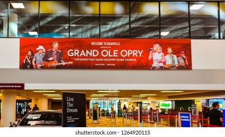 Nashville, TN/USA - Sep. 18, 2017: Welcome banner, Nashville International Airport, Nashville, TN.