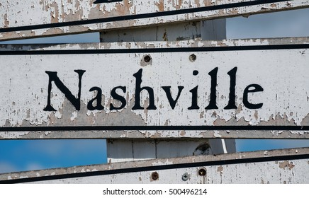 Nashville Travel Sign displays the word Nashville along sign with mileage and direction to help get the traveler to his or her destination