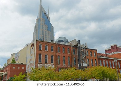 NASHVILLE,TN,USA - SEP 27, 2015: Historic 1st Avenue and AT&T Building at the riverfront of Cumberland River in downtown Nashville, Tennessee, USA.