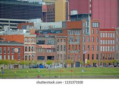 NASHVILLE,TN,USA - SEP 27, 2015: Historic 1st Avenue at the riverfront of Cumberland River in downtown Nashville, Tennessee, USA.