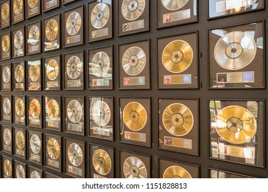 NASHVILLE/USA-APRIL 12,2018:A display of gold, silver and platinum records at the Country Music Hall of Fame and Museum in Nashville, Tenessee