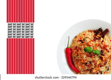 Nasi briyani or briyani rice with cili, mint leaf, cinnamon and star anise as a garnish. Empty with space and square red line for inserting texts
