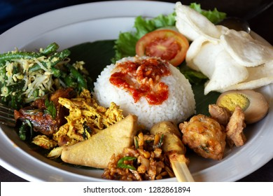 Nasi campur Bali or also known as Balinese mixed rice, famous Bali cuisine.