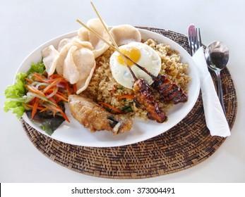 Nasi goreng; Indonesian fried rice plate.