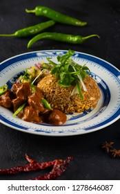 Nasi Lemak Chicken Rendang biryani rice