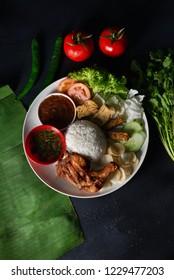 nasi lemak kukus with thigh malaysian local food top down