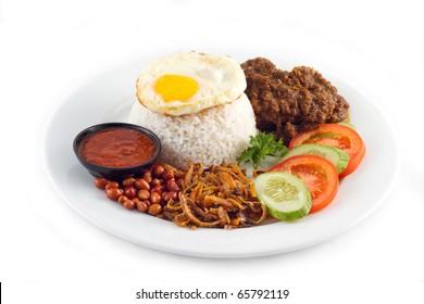 Nasi lemak traditional malaysian spicy rice dish