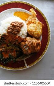 nasi padang typical food of west sumatra