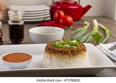 nasi tim, steam rice, Indonesian recipe