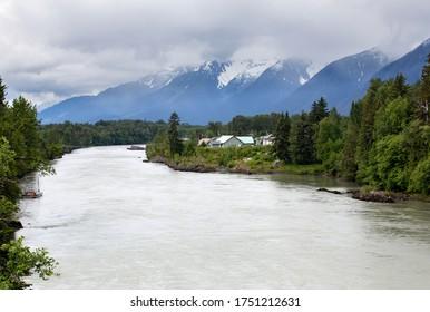 """Nass River going through the Nisga""""a Valley."""