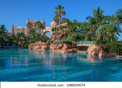NASSAU, BAHAMAS - 20 APRIL,2018: The Atlantis Paradise Island resort and its interior. It has become an icon of The Bahamas.  The resort cost $800 million to build.