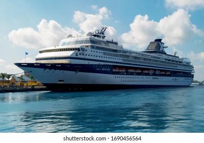 Nassau / Bahamas -april 13 2010 : Mercury Cruise ship from Celebrity cruises while is docking in caribbean island